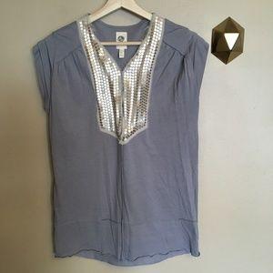Tiny Anthropologie Sequin Bib Gray Shirt Top S
